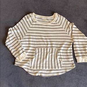O'NEILL cream and black striped cotton sweatshirt